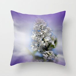 white lilac on textured background -a- Throw Pillow