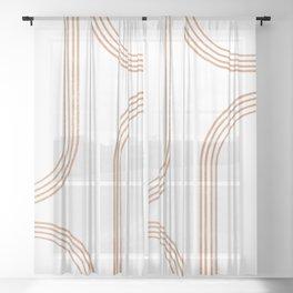 Mid Century Modern 1 - Geometrical Abstract - Minimal Print - Terracotta Abstract - Burnt Sienna Sheer Curtain