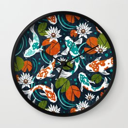 Koi Pond - Orange Wall Clock