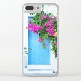 249. Flowers Door, Greece Clear iPhone Case