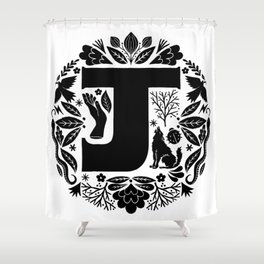 Letter J monogram wildwood Shower Curtain