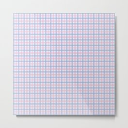 Pink & Purple Plaid Pattern over Light Blue Background Metal Print