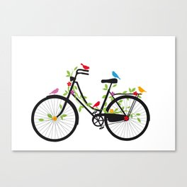 Old bicycle with birds Canvas Print