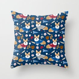 Corgi baseball themes sports dog fabric welsh corgis dog breeds gifts Throw Pillow