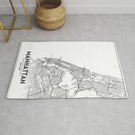 Minimal City Maps - Map Of Manhattan, New York, United States Rug