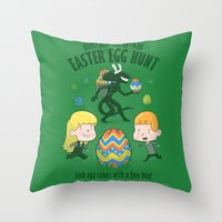 xenomorph Throw Pillows featuring A Xenomorph Easter Special by Anna-Maria Jung