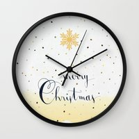 merry christmas Wall Clocks featuring Merry Christmas by Earthlightened