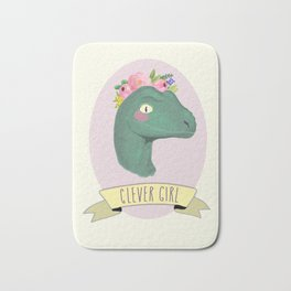 Clever Girl Dinosaur / Jurassic Park / Gift for Her / Boho Baby Animal Nursery Decor / Feminist Bath Mat
