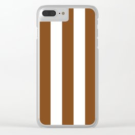 Russet brown - solid color - white vertical lines pattern Clear iPhone Case