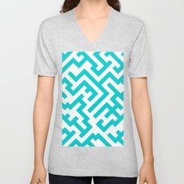 White and Cyan Diagonal Labyrinth Unisex V-Neck