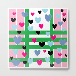Hearts and Stripes - Pink Green Blue Metal Print