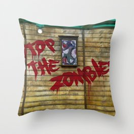 Stop the Zombies!!! Throw Pillow