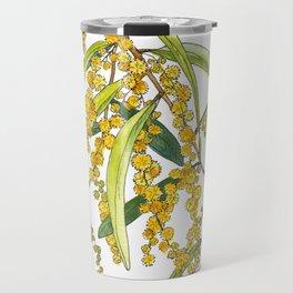 Australian Wattle Flower, Illustration Travel Mug