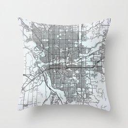 Spokane, WA, USA, White, City, Map Throw Pillow