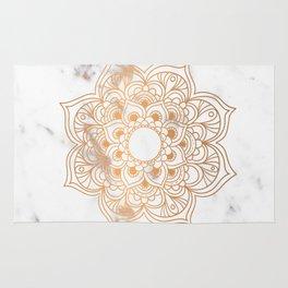 Copper flower mandala - marble Rug