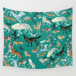 Wolves of the World Green pattern Wall Tapestry