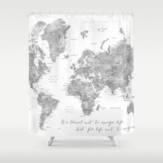 Grayscale and minimal shower curtains society6 we travel not to escape life grayscale world map shower curtain gumiabroncs Gallery