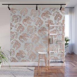 Boho rose gold floral paisley mandala elephants illustration white marble pattern Wall Mural