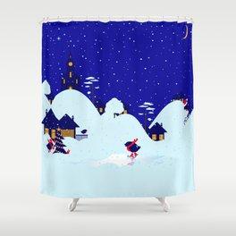 Winter Bullfinch Village Shower Curtain
