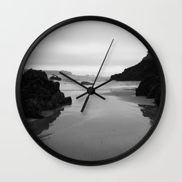 Kynance Cove in Black and White Wall Clock