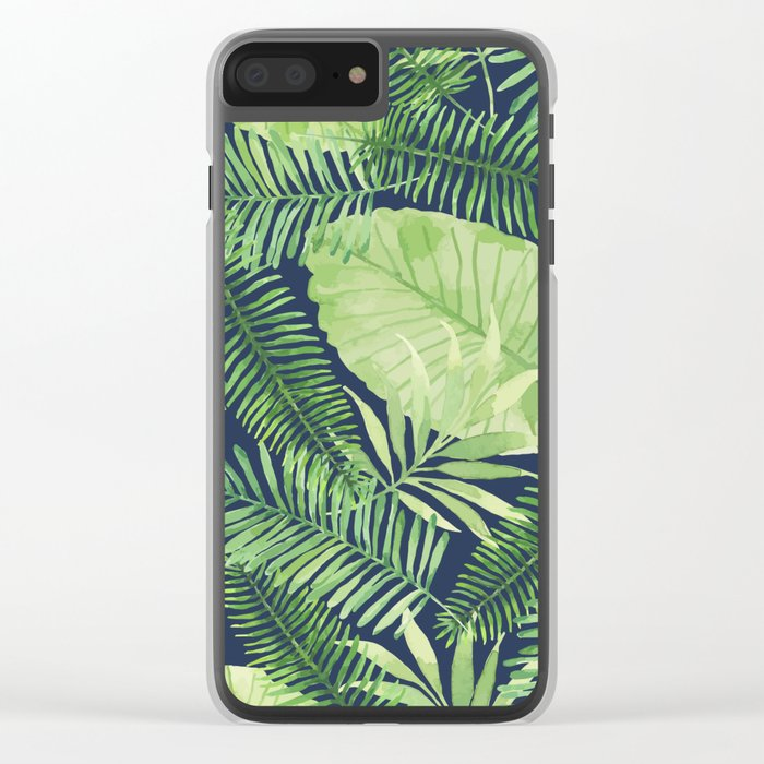 Tropical Branches on Dark Pattern 09 Clear iPhone Case