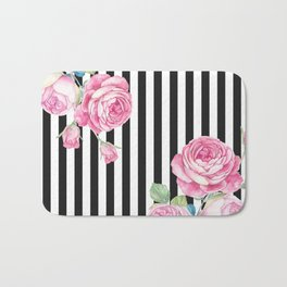 Black white blush pink watercolor floral stripes Bath Mat