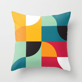 Geometric Pattern #31 (yellow red green curves) Throw Pillow