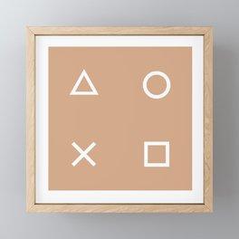 Beige Gamer Pattern Framed Mini Art Print