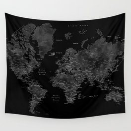Black and grey world map with cities Wall Tapestry