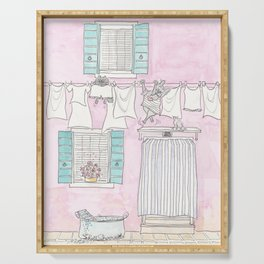 Venice Pink and White Washing Day Fun Serving Tray
