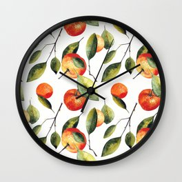 Watercolor seamless pattern with mandarins and leaves. Hand draw Wall Clock