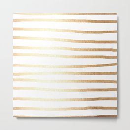Simply Drawn Stripes Golden Copper Sun Metal Print