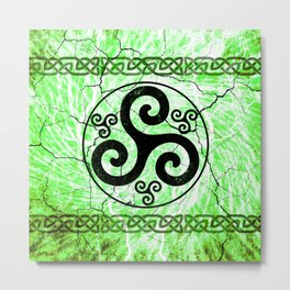 Black Irish Triskelion Metal Print
