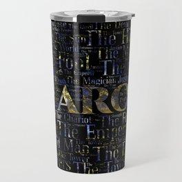 Tarot Major Arcana Word Art  Gold and Gemstone Travel Mug