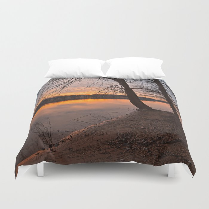 Potomac River Sunset Duvet Cover