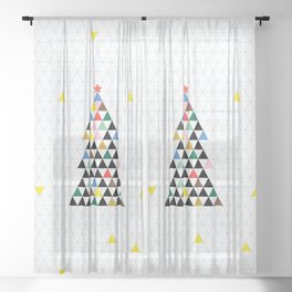 Geometric Christmas Tree Sheer Curtain