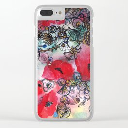 Red poppies and other flowers Clear iPhone Case