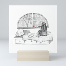 Rainy Day Window pencil illustration Mini Art Print