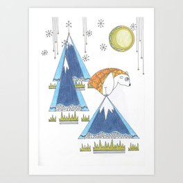 Whimsical Creature On Snowy Mountaintop Art Print