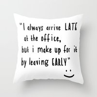 the office Throw Pillows featuring Office hours by John Medbury (LAZY J Studios)