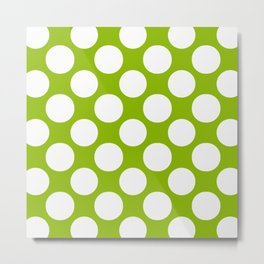 White & Apple Green Spring Polka Dot Pattern Metal Print