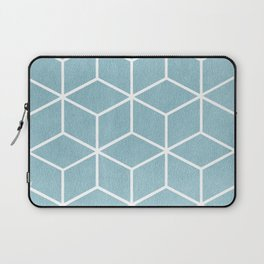 Light Blue and White - Geometric Textured Cube Design Laptop Sleeve