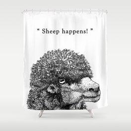 "TypoAnimal - ""Sheep happens!"" Shower Curtain"