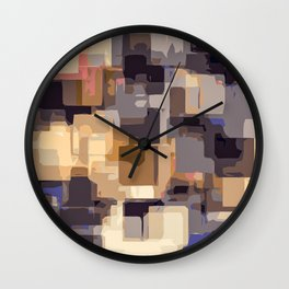purple pink yellow and blue square abstract background Wall Clock