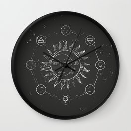 Moon, sun and elements Wall Clock