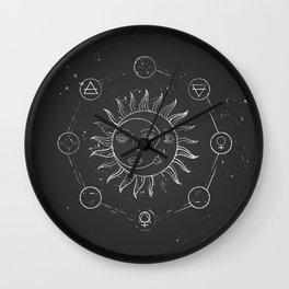 Moon, sun and elements Wall Clock