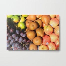 Orange Pears and Grapes Metal Print