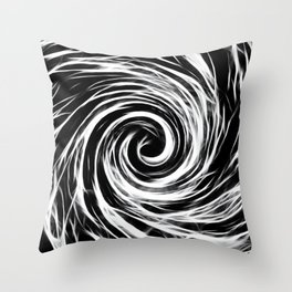 Future Abstract Spiral -Black and White- Throw Pillow