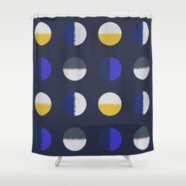 circles-blue yellow Shower Curtain