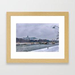 Snowfall over Paris Framed Art Print